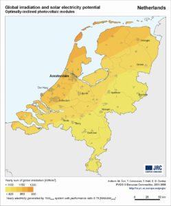 zonneintensiteit nederland